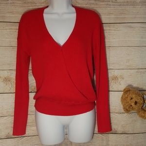 NWOT Elodie Red Faux Wrap Sweater Size S